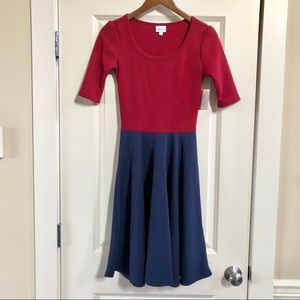 BNWT LuLaRoe Nicole dress in red & blue
